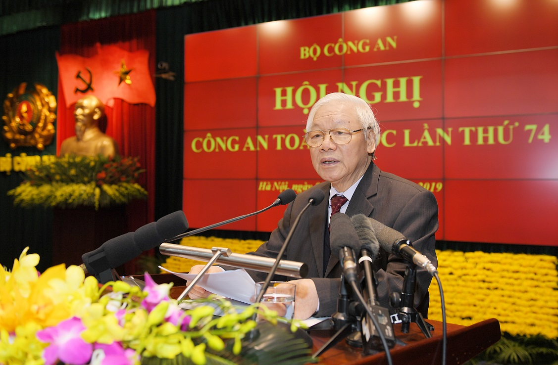 General Secretary and State President Nguyen Phu Trong delivers a keynote speech at the Conference