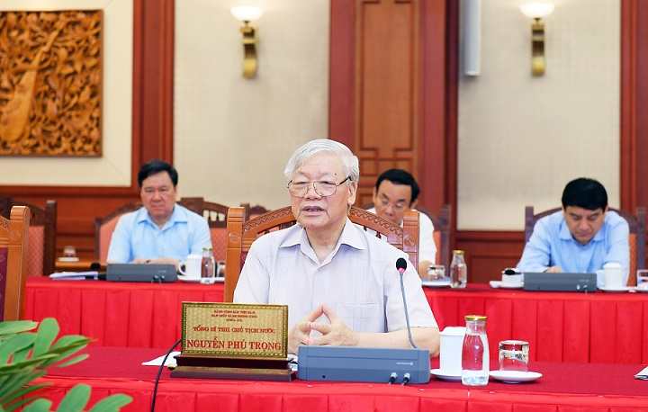 Party General Secretary and State President Nguyen Phu Trong concludes the working session.
