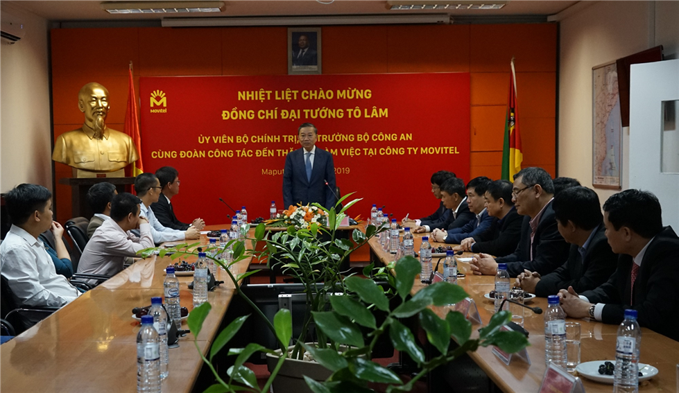 Minister To Lam and other delegates at the Vietnamese Embassy in Mozambique.