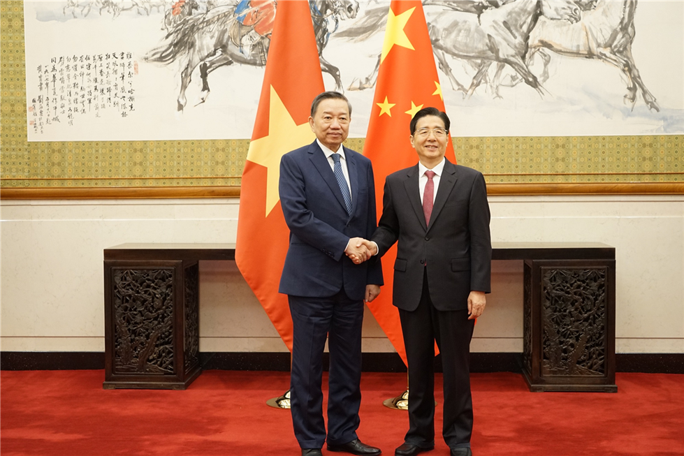 Minister To Lam holds talk with Chinese Secretary of the Communist Party of China Central Committee's Commission of Political and Legal Affairs Guo Shengkun.