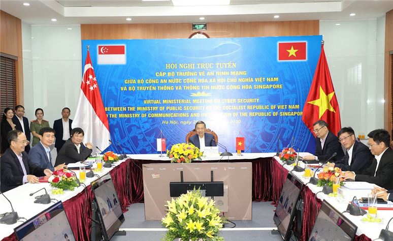 The Vietnamese MPS delegation attends the video-conference from Hanoi, Vietnam.